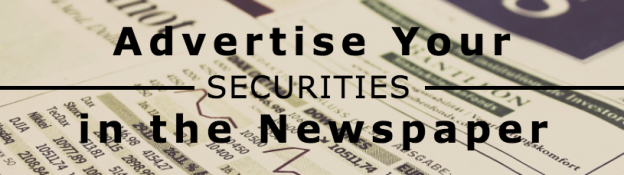 FoundersGuide: Advertise Your Securities in the Newspaper